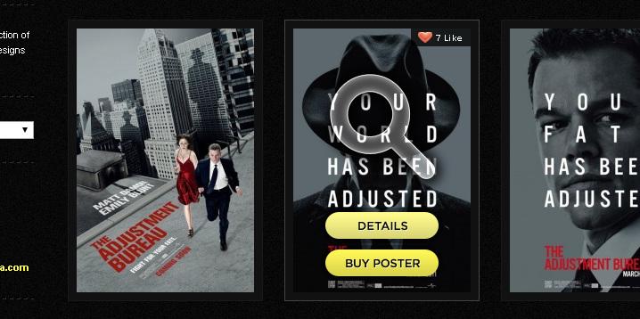 Кликабельные опции при наведении на картинку - лупа, лайки, детали, купить постер