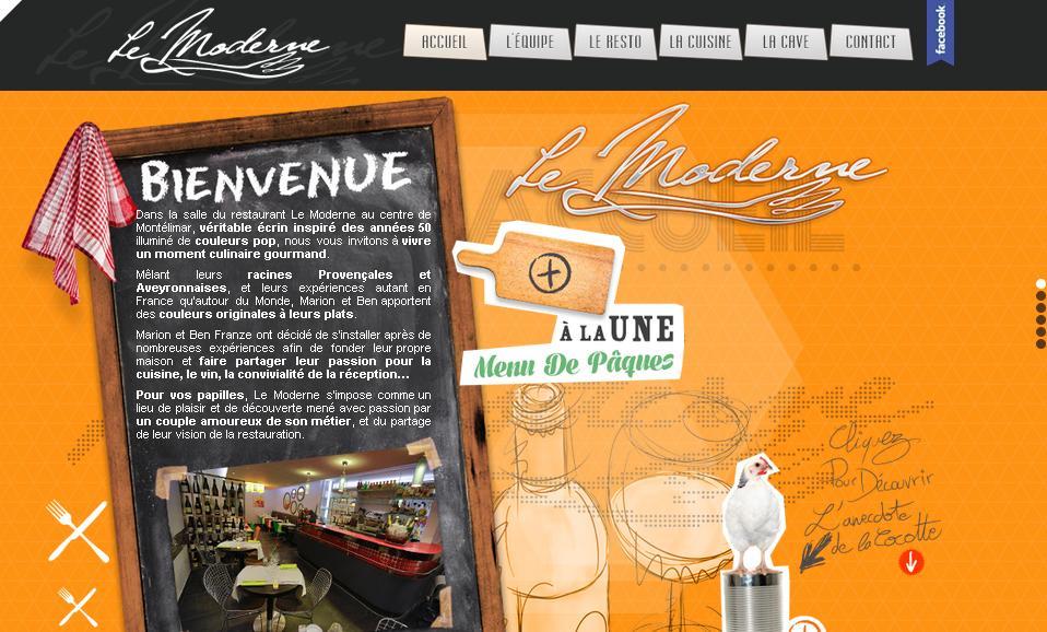 Одностраничный сайт французского ресторана Restaurant Le Moderne: пример с ярким дизайном