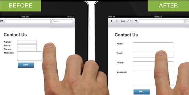 Как адаптировать сайт под планшет: поля форм