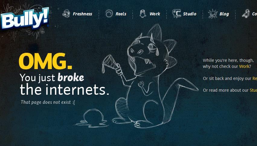 примеры 404: иллюстрация персонажа на странице ошибки