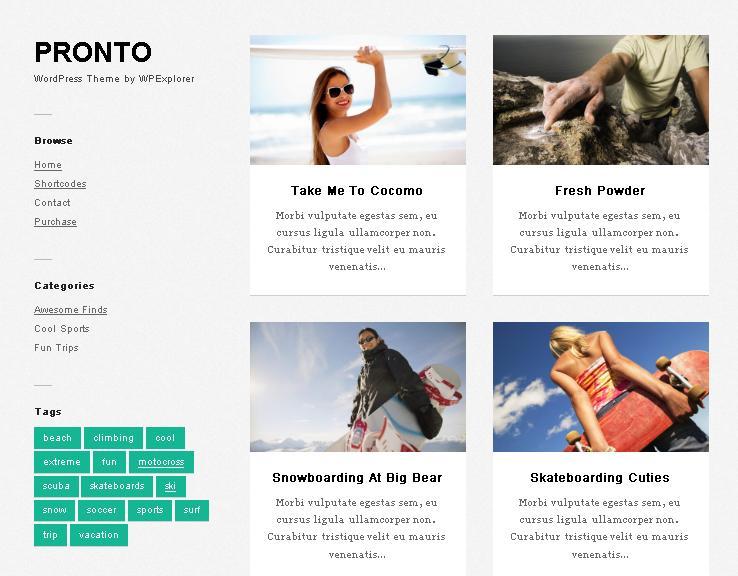 Pronto - чистая минималистичная Masonry WordPress тема для фотографов