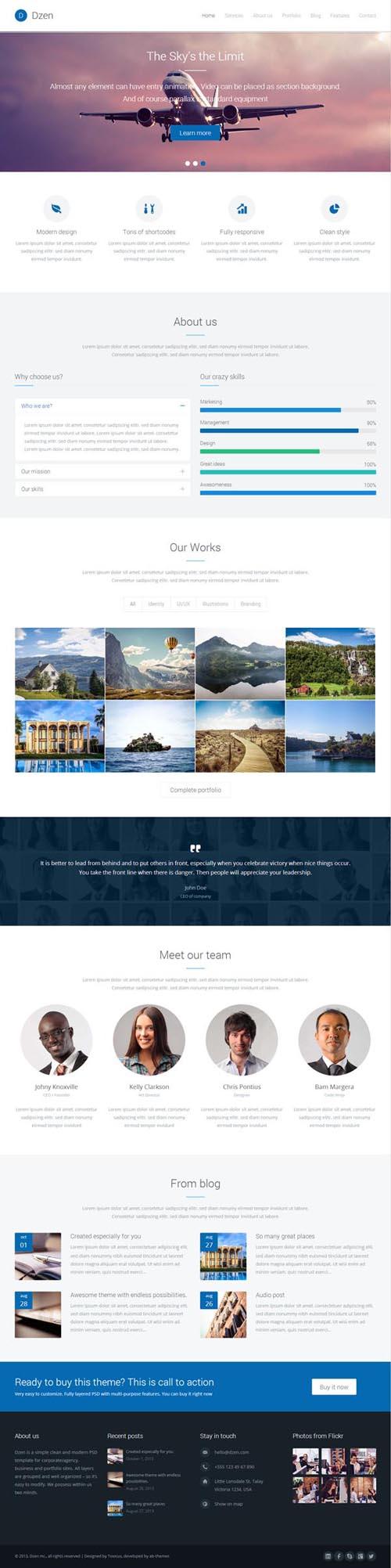 Бизнес тема на WordPress с html 5