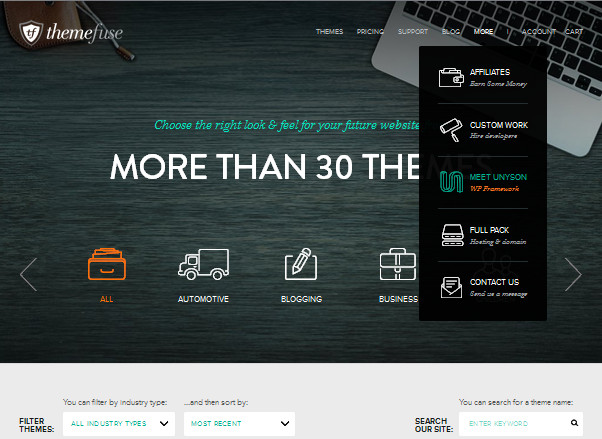 прозрачные кнопки и контурные иконки на целевой странице сайта