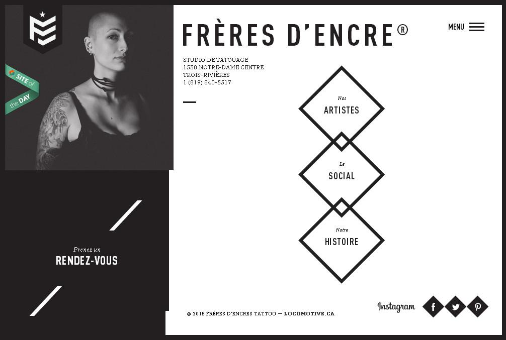 геометричный дизайн сайта в черно белом стиле