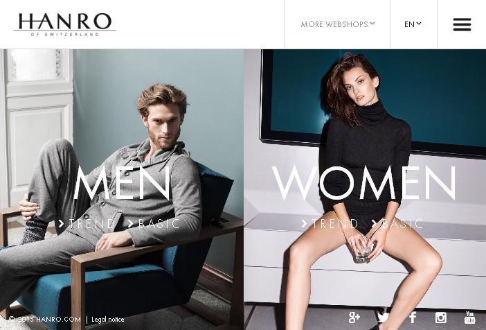 Лучший черно-белый дизайн сайта бренда hanro.com