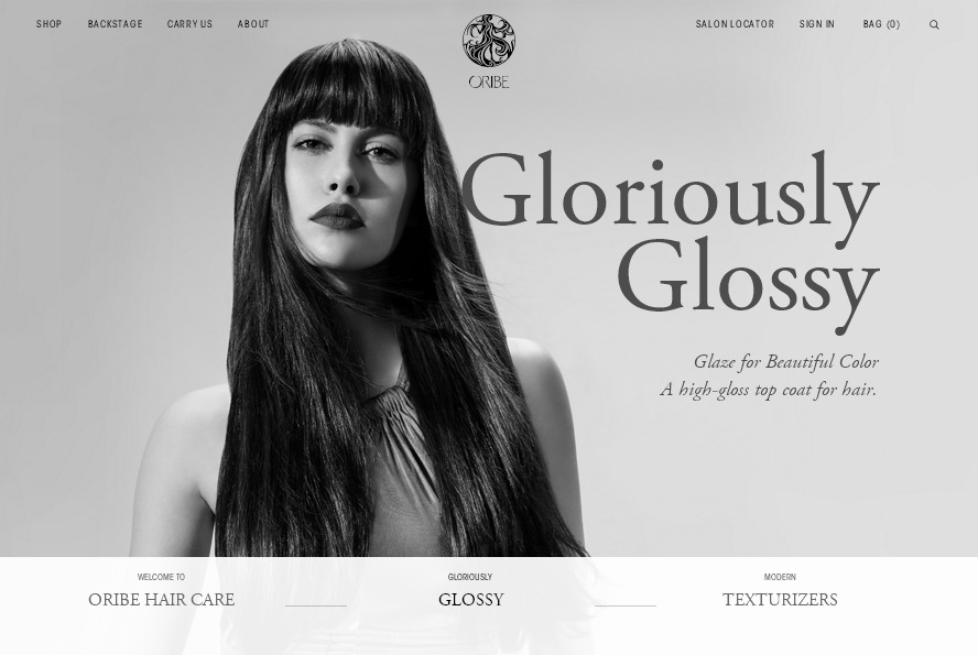 oribe.com  - сайт интернет магазина с красивым черно-белым дизайном
