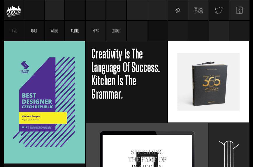 kitchenprague.com - черно-белый дизайн с плитками
