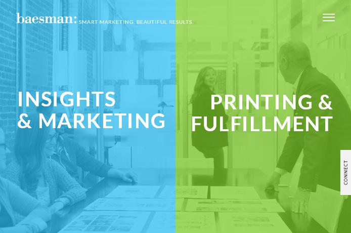 пример бизнес сайта: плоские цвета с высоким контрастом