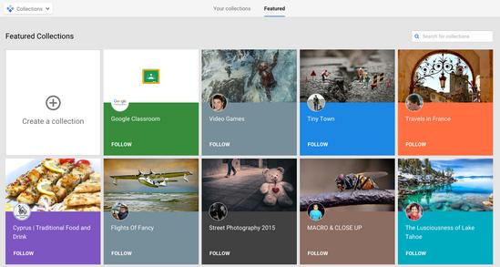 Обновленный дизайн социальной сети Google+. Страница Подборки
