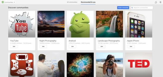 Обновленный дизайн социальной сети Google+. Страница Сообщества