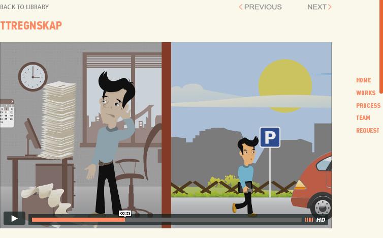 Дизайн сайта студии с анимацией персонажа в объясняющем видео