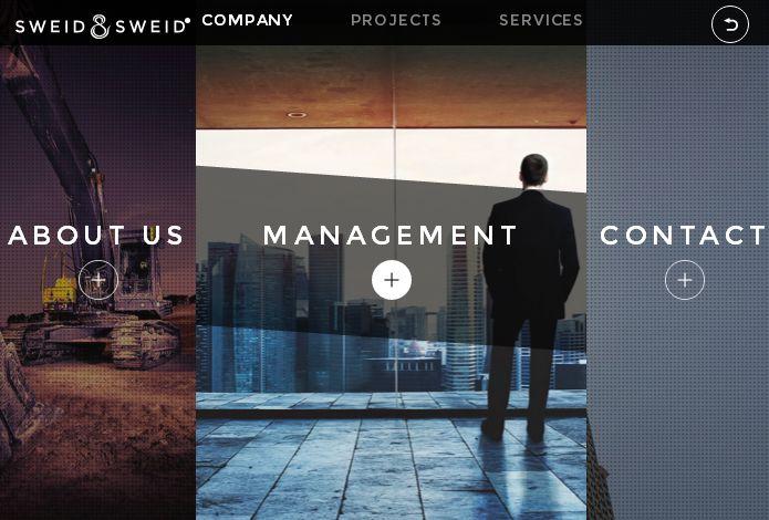 Примеры оригинальных сайтов с использованием всего экрана для полноэкранного меню
