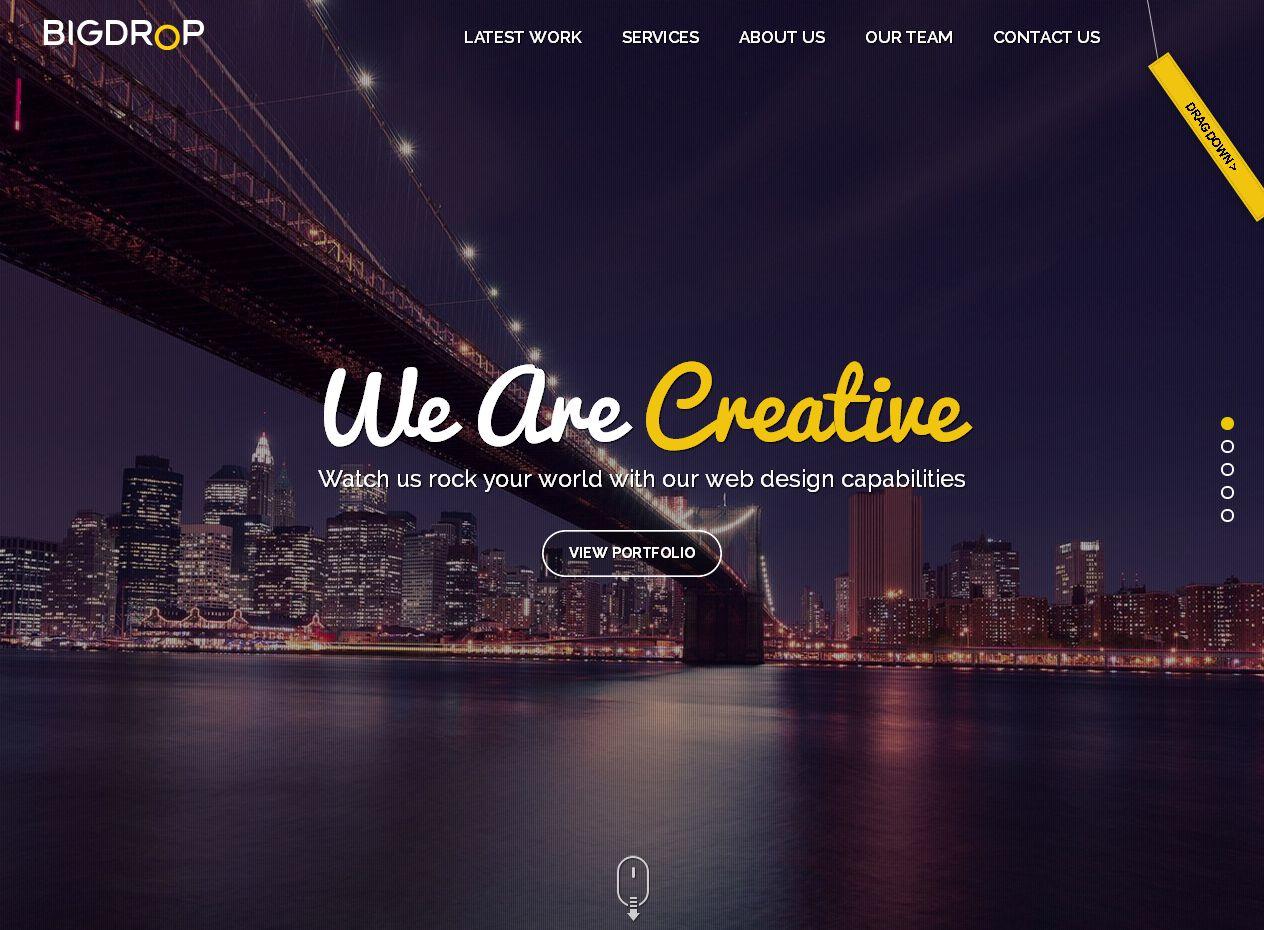 Пример главной страницы сайта агентства Big Drop Inc