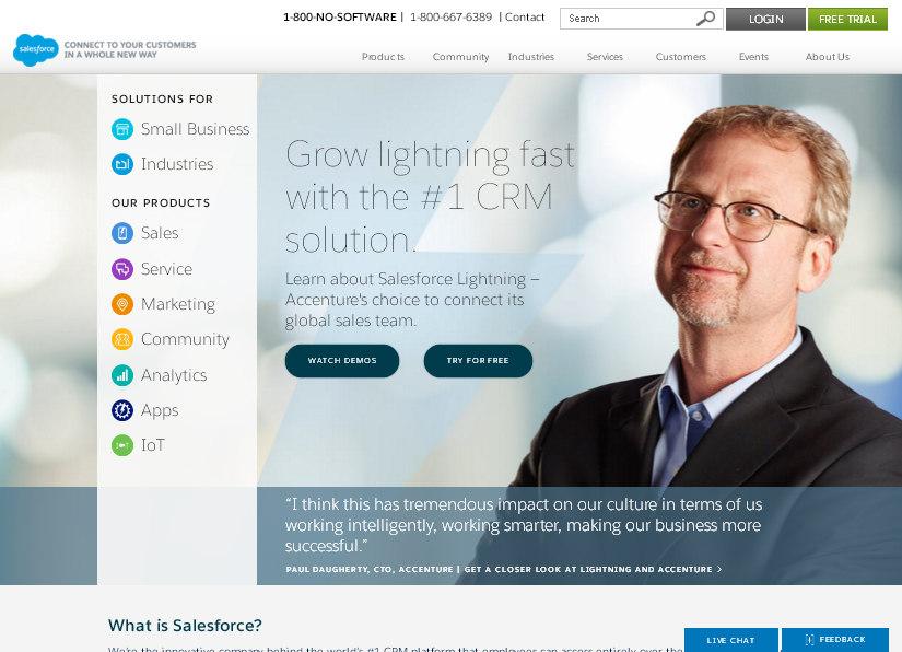 Домашняя страница сайта американской компании Salesforce – пример грамотного оформления