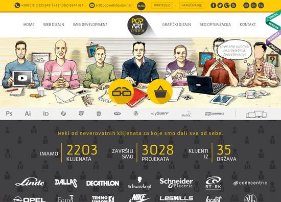Креативный плоский стиль красиво оформленной главной страницы – сайт агентства popwebdesign.net