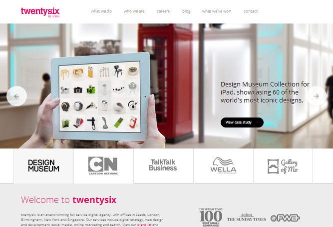 Пример стильного оформления главного экрана сайта