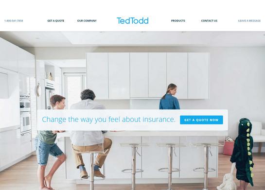 Легкий воздушный дизайн главной целевой страницы страховой компании tedtoddinsurance.com