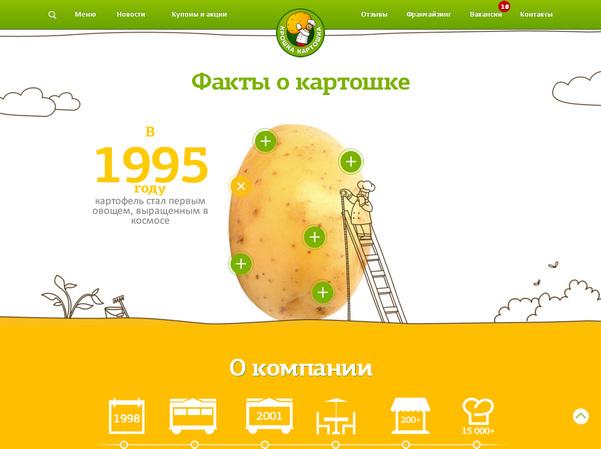 Сайт российского продуктового бренда: эффектно оформленная главная страница