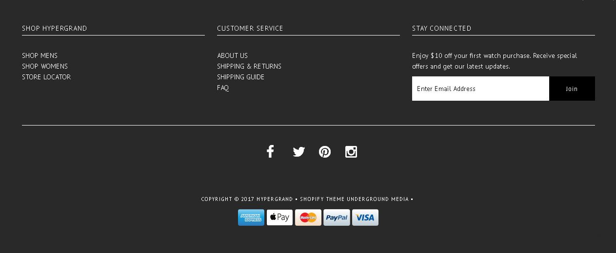 Идеальный футер интернет-магазина hypergrand.com - просторный и функциональный