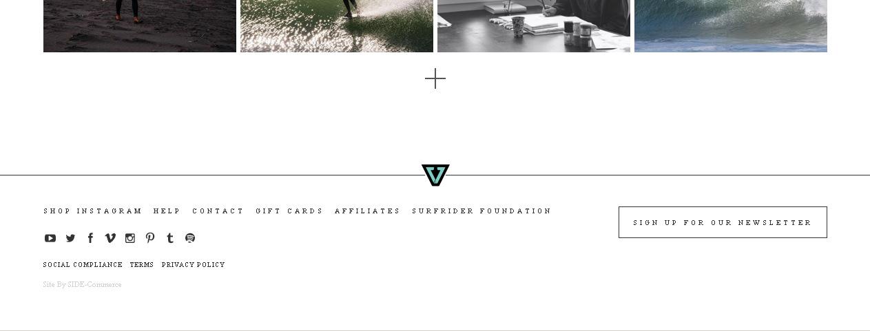 Пример минималистичного оформления футера сайта e-Commerce