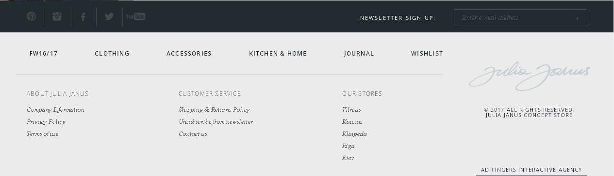 Образец оформления футера - интернет-магазин Julia Janus