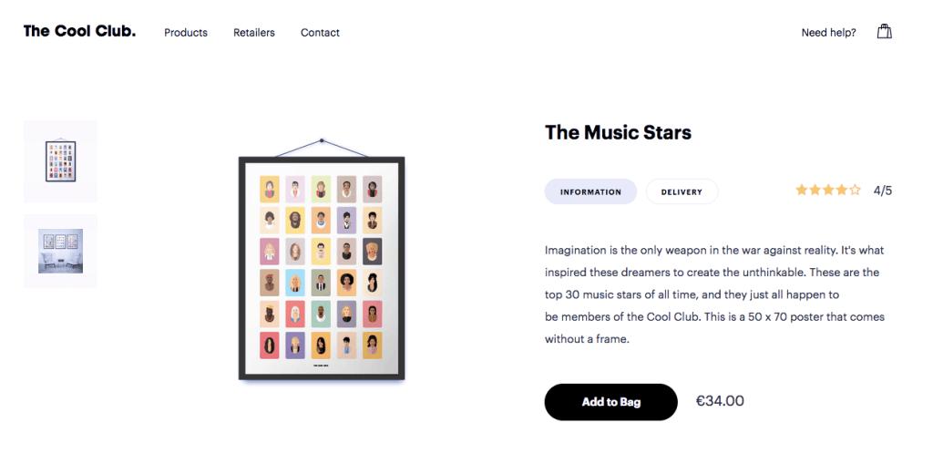 Пример красивого дизайна сайта электронной коммерции : карточка товара