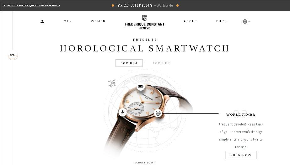 Пример красивого дизайна сайта электронной торговли - сайт smartwatch.frederiqueconstant.com