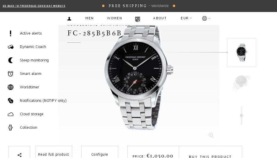 Примеры дизайн инноваций в сфере e-Commerce, продуктовая страница smart watch frederiqueconstant.com