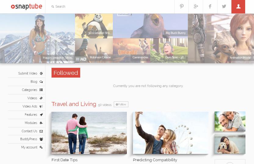 Красивая многофункциональная тема WordPress для создания запоминающегося сайта - Snap Tube