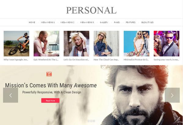Personal - видео блоговая тема WordPress