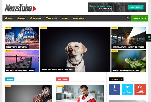 Отличная wordpress-тема для блога, журнала или новостного сайта - NewsTube