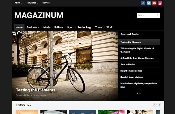 Журнальная тема wordpress для развлекательного, фэшн и медиа-сайта - Magazinum