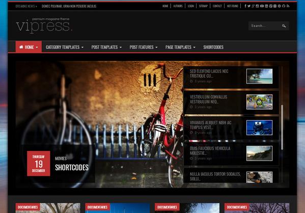 ViPress - видео-тема WordPress с мощным функционалом, опциями (настраивается по максимуму)