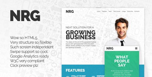 NRG – Landing page шаблон-одностраничник на HTML под стартап, агентство, студию