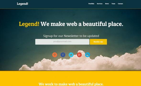 Legend - бесплатный HTML шаблон Landing Page