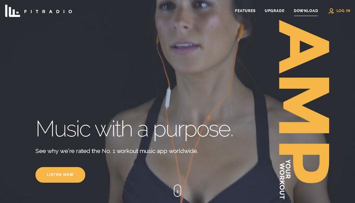 Пример фонового видео презентующего продукт - сайт Fit Radio