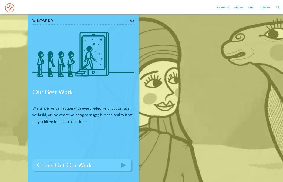 Пример главной страницы сайта с креативными видео-фонами