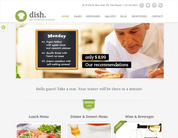 Dish – ресторанная тема WordPress в стиле ретро