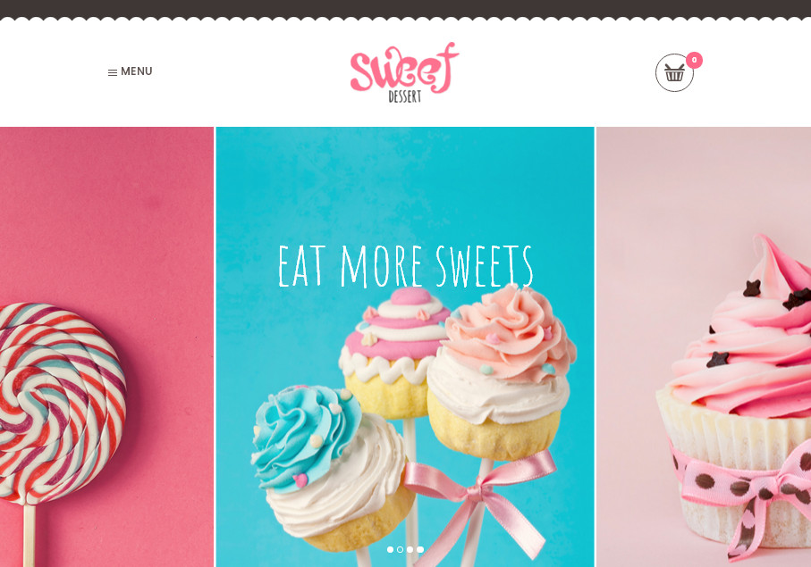 Кулинарные шаблоны WordPress: SweetDessert – эффектная современая тема с анимацией (2017 год), подойдет для продуктового сайта с кейтеринговыми услугами и интернет-магазином, кафе, ресторану