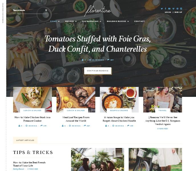 Florentine – современная журнальная тема со специализированными опциями для food-тематики – под стильный сайт о кулинарии или интернет-магазин