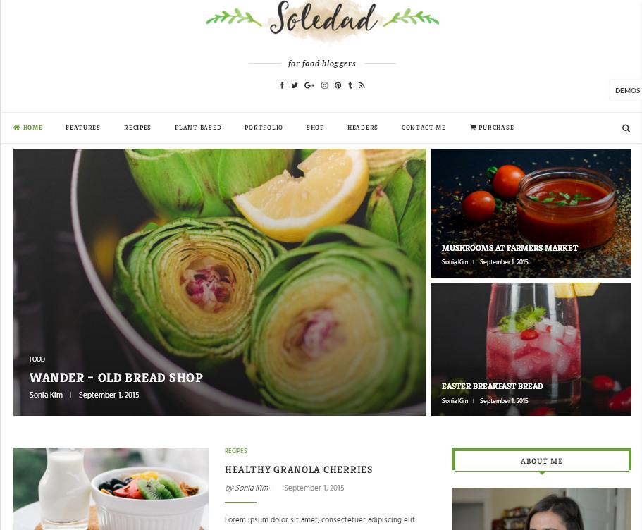 Soledad – шаблон кулинарной тематики для WordPress