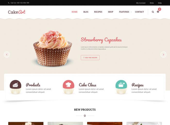 Кулинарные темы WordPress: Cake Art - красивый шаблон на тематику продукты питания или для блога о еде