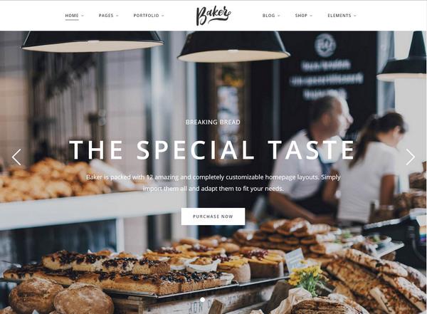 Baker – кулинарная тема WordPress с красивым дизайном