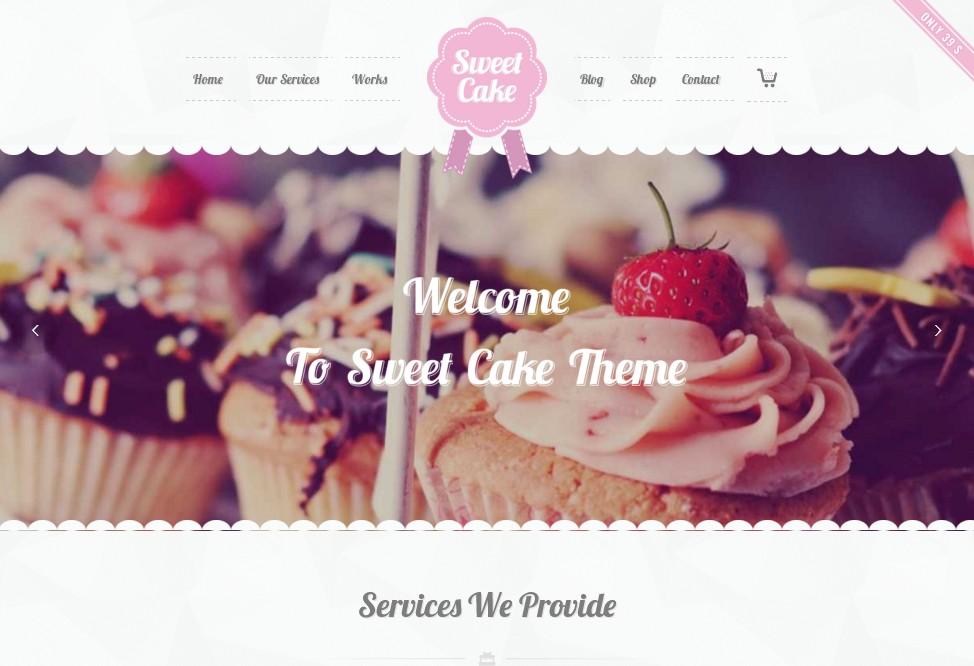 Sweet Cake – приятная на вид одностраничная тема для кулинарного сайта