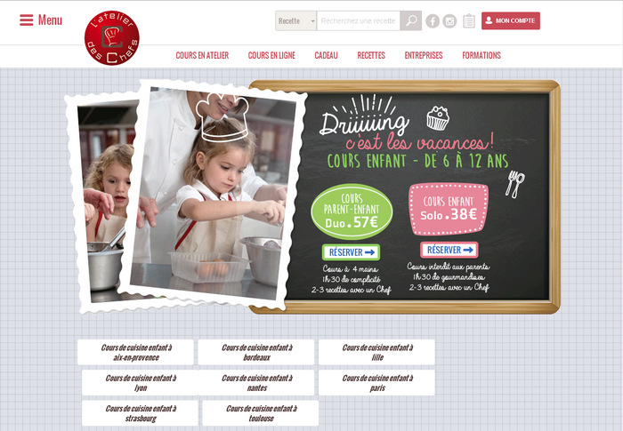 французский кулинарный сайт с красивым дизайном