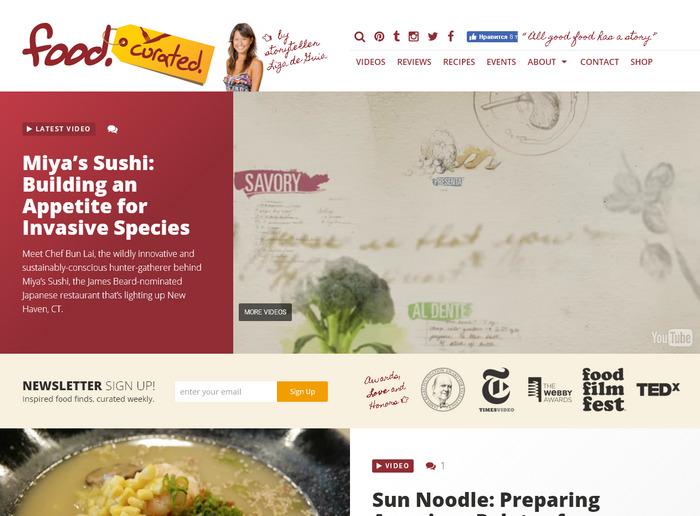 сайт о кулинарии Лизы Москито: красивое оформление в плоском стиле