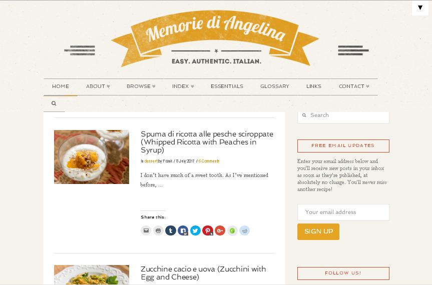 Итальянский кулинарный блог с простым оформление в светлых тонах