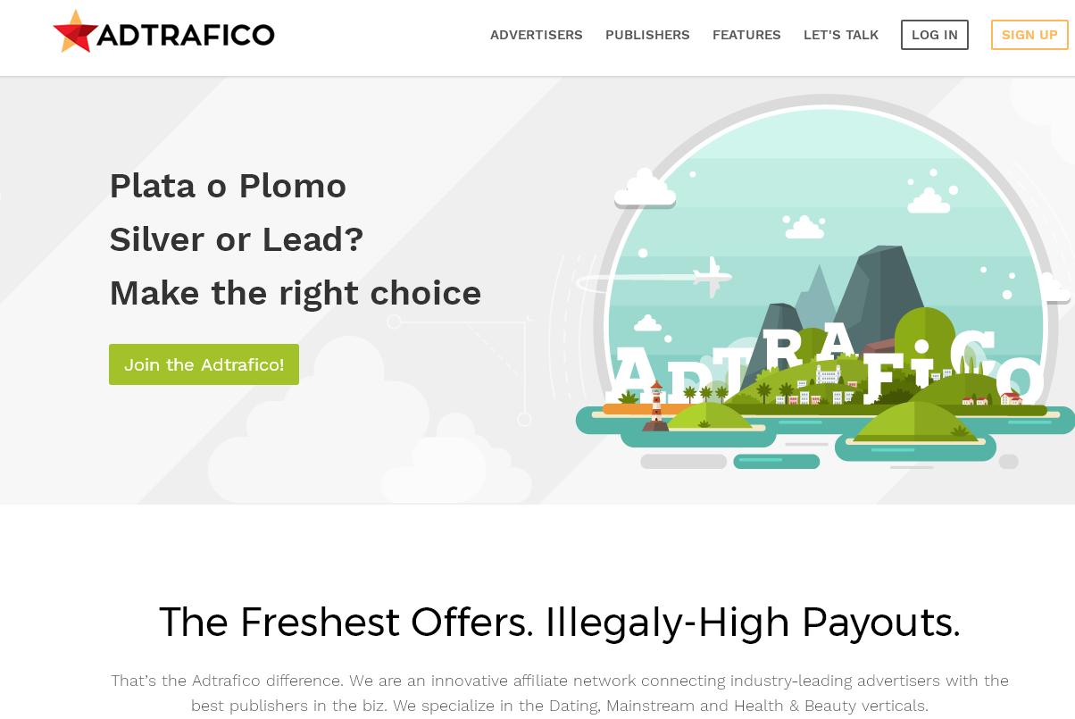 Пример кнопки призыва к действию - adtrafico.com