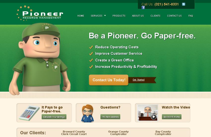 Call to Action примеры: кнопки призыва к действию на Pioneer Records Management