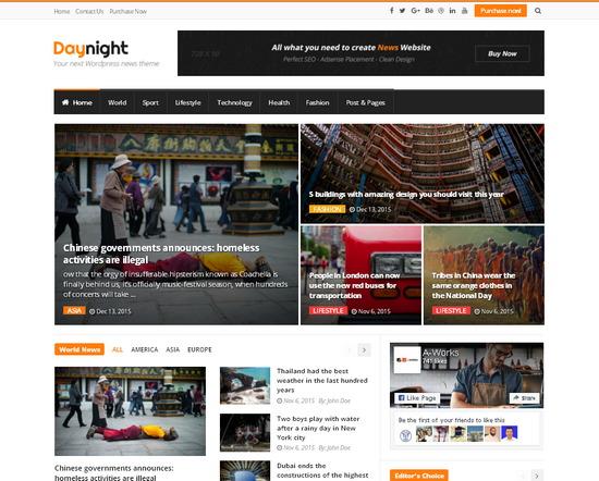 Мощная WordPress тема для создания профессионального новостного сайта и блога, оптимизирована для AdSense и SEO